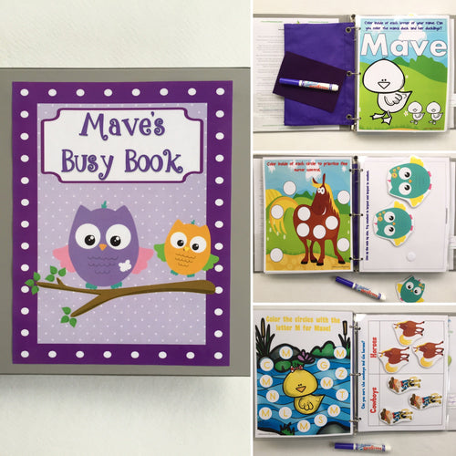 Owls/Horses/Ducks/Animals Personalized Toddler Busy Book, Quiet Book, Dry Erase/ activities, Preschool, Educational Toy, kids, travel