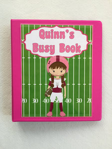 Girl Football Dry Erase Activity Book/ Busy Book/ Quiet Book/Binder/ Educational Toy/ Custom Made/ Unique Gift for Children/PreK/K/learning