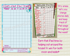 Mermaid Earn Your iPad/Tablet/Fire Time Chart, chore chart, goal chart, dry erase, laminated, visual chart, , responsibility, kids