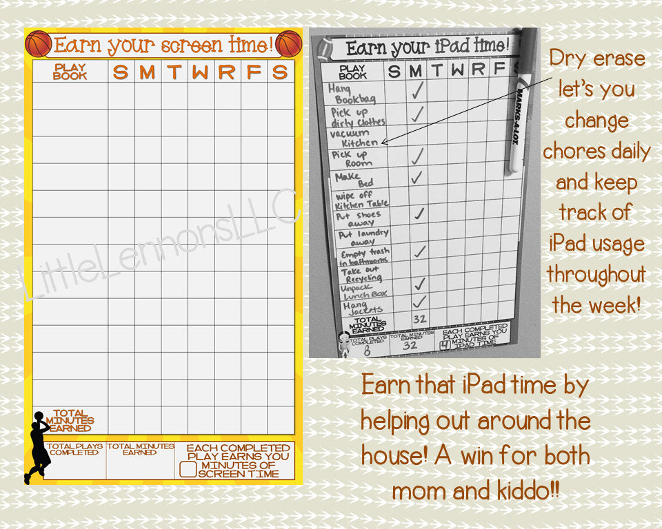 Basketball Earn Your iPad/Tablet/Fire/Xbox/Screen Time Chart, chore/goal chart, dry erase, laminated, task, boys, device, responsibility