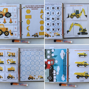 Construction truck Busy Book, dry erase &  activity book, Personalized, Quiet Book, Eductional Toy, Unique Gift, busy bag, preschool