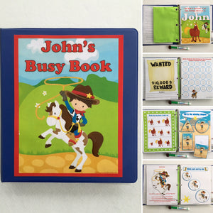 Cowboy Personalized Busy Book, Toddler, Quiet Book, Dry Erase/ activity book, Preschool Learning, Educational Toy, shapes, counting