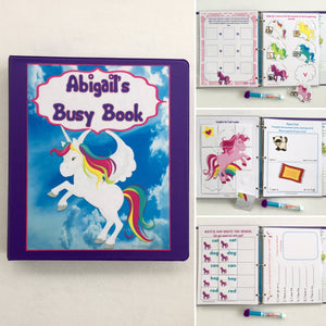 Unicorn Dry Erase/Busy Book/Quiet Book/Activity Book/Learning Binder/Educational toy/Custom made/Gift for girls/preschool/kindergraten/prek