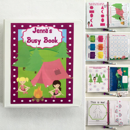 Toddler Camping Personalized Busy Book, Quiet Book, Dry Erase/ activity book, Preschool Learning, Educational Toy, kids, travel