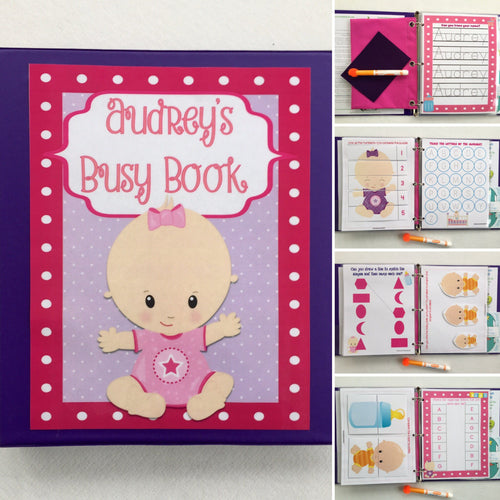 Baby Doll Busy Book, quiet book, dry erase activity book, toddler, big sister gift, personalized, custom made, quiet time, learning binder