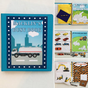 Trucks and Tractors Toddler Personalized Busy Book, Quiet Book, Dry Erase/ activity book, Preschool Learning, Educational Toy, shapes