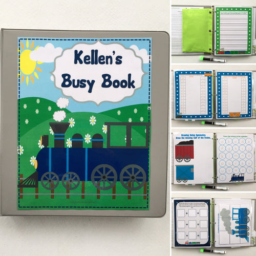 Train Kindergarten Dry Erase/ Busy Book, Quiet Book, Activity Book, Educational toy, Custom made, interactive book, tie shoes, writing