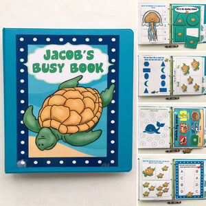 Toddler Under the Sea Busy Book/Quiet Book, Customized, ocean animals, Dry Erase, , workbook, activities, preschool, games, turtles