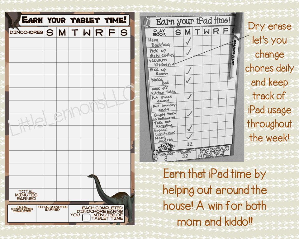 Dinosaur Earn Your iPad/Tablet/Fire/Xbox/Screen Time Chart, chore/goal chart, dry erase, laminated, task, boys, device, responsibility, kids