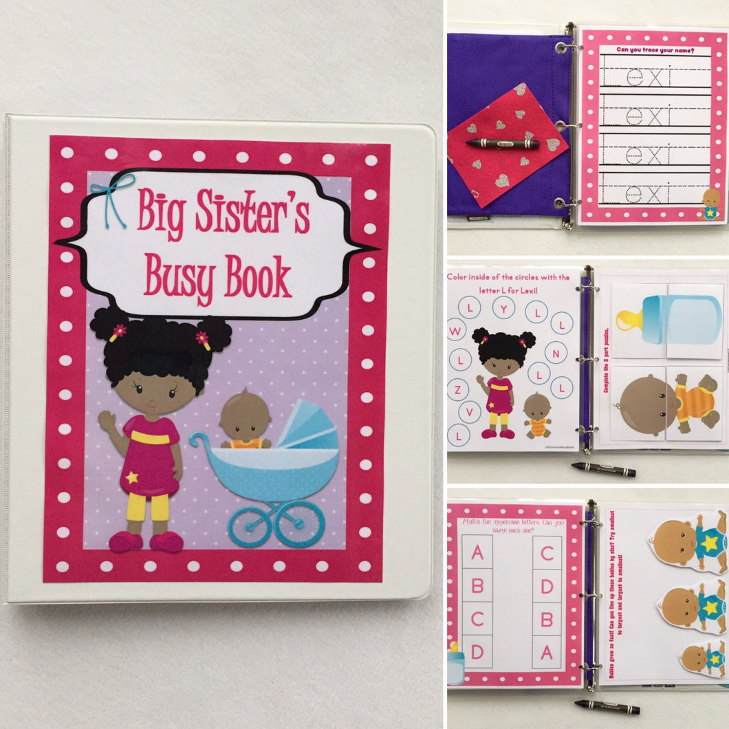 African American Big Sister Toddler Busy Book, quiet book, dry erase, , activity book, ages 2-3, big sister gift, custom, toys