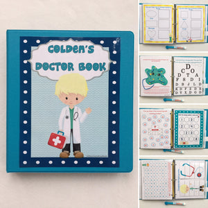 Doctor PreK Dry Erase  Activity Book, Personalized Busy Book, Quiet Book, Busy Bags, Educational Toy, gift for kids, travel games, hands on