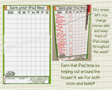 Football Earn Your iPad/Tablet/Fire/Xbox Time Chart, chore/goal chart, dry erase, laminated, visual chart, boys, , responsibility