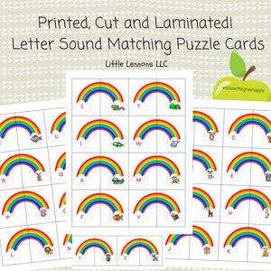 Printed, Laminated Beginning Sounds Puzzles, letter sounds, busy book, prek, kindergarten prep, matching, learning, educational, alphabet