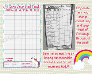 Unicorn Earn iPad/Tablet/Screen/Xbox Time Chart, chore/goal chart, dry erase, laminated, visual chart, girl, screen time, responsibility