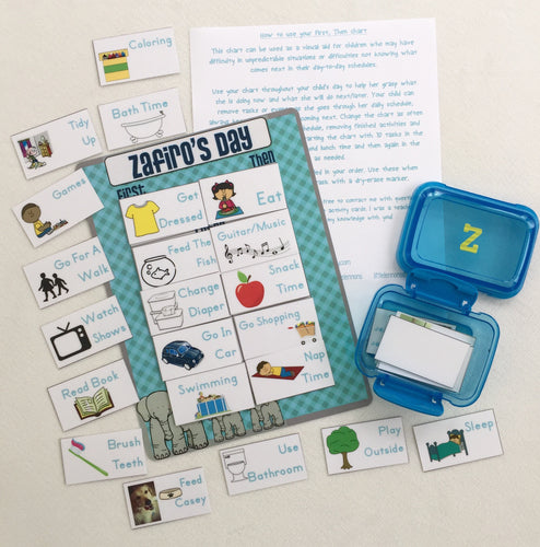First, Then Chart Daily schedule chart, 25 customized cards, transition chart, visual schedule, PECS, autism, laminated, elephant th