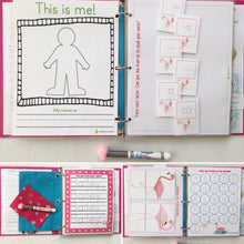 Flamingo Busy Book, Binder, Personalized Dry Erase activity book, travel games, unique gift, girl, flamingo party, big sister, preschool