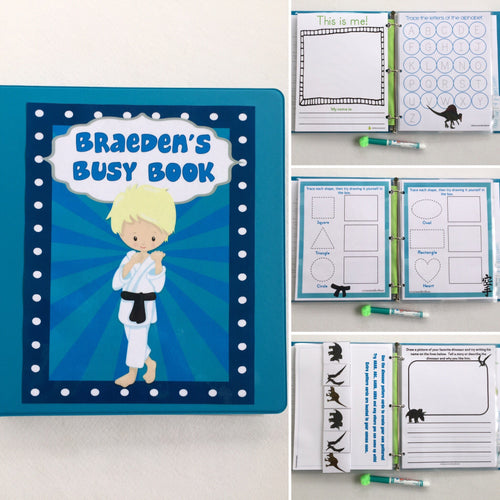 Karate, Dinosaur, Race Car Personalized Busy Book, binder, kindergarten, writing, dry erase,  activity book, travel games, hook and loop