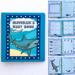 Sharks Personalized Busy Book, Dry Erase Activity book, Customized by age, Educational toy, travel games, busy bag, kids, quiet book, ocean