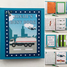 Trucks, Planes, Outer Space Personalized Busy Book, Dry Erase Activity book, Custom, Educational toy, travel games, busy bag, kids, writing
