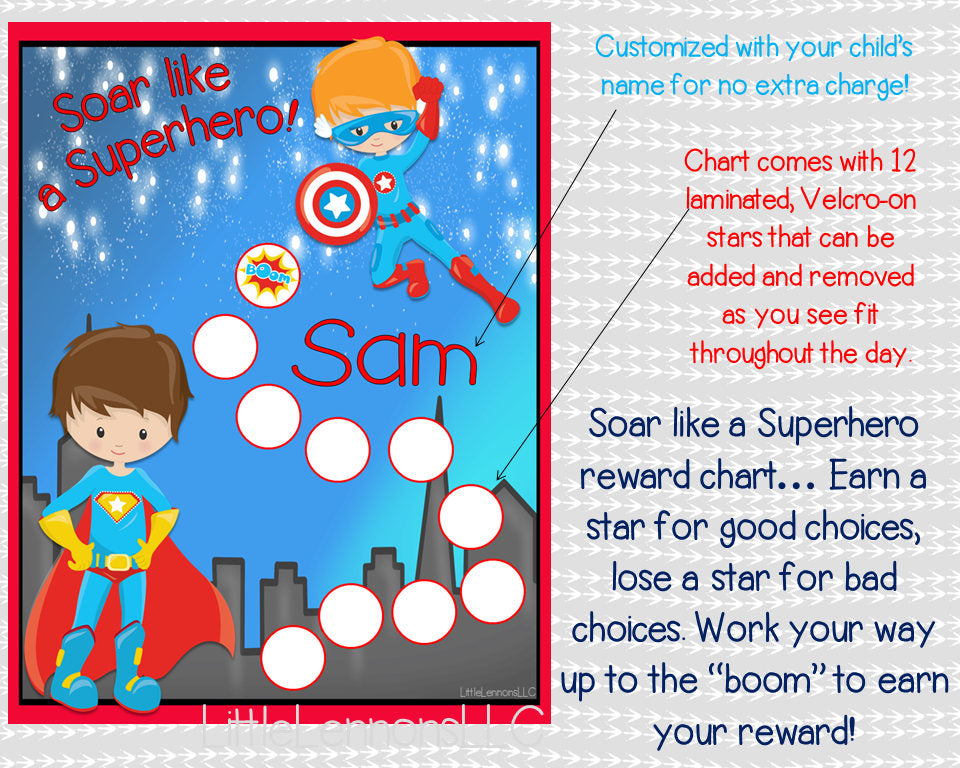 Superhero Behavioral Chart, personalized, reward chart, star chart, laminated, assembled, , potty chart, chore chart, kids chart, boys