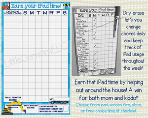 Trucks Earn iPad/Tablet/Fire/Xbox/Screen Time Chart, chore/goal chart, dry erase, laminated, printed, write on, reward chart, responsibility