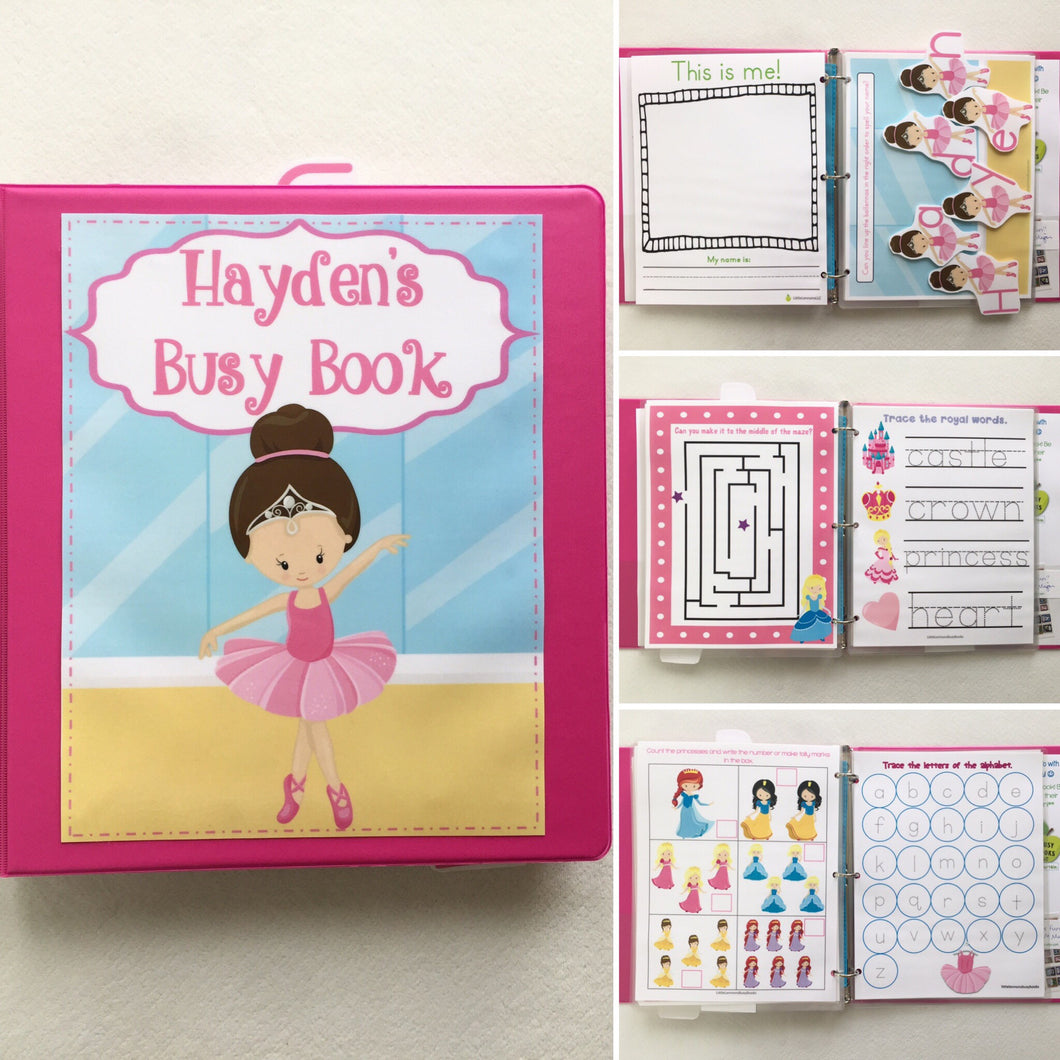 Ballerina Princess Learning Binder Age 4-5, Busy Book, Quiet Book, Dry-erase  Activity Book, Travel, Games, Educational toy, custom
