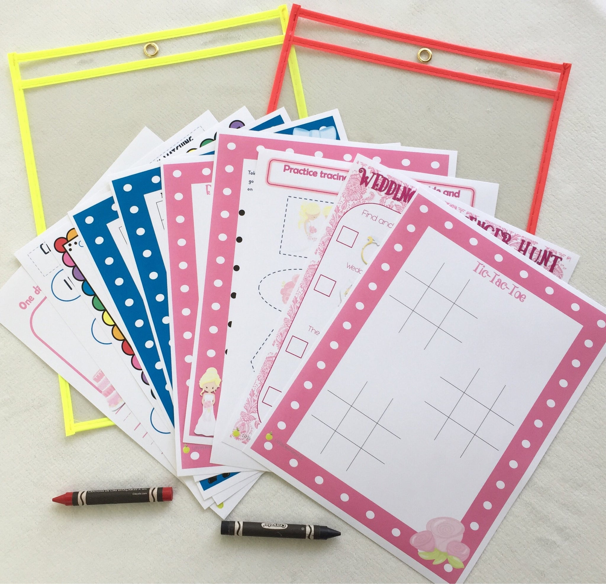 Kids Wedding Activity Pages, printed, dry erase, children, flower ...