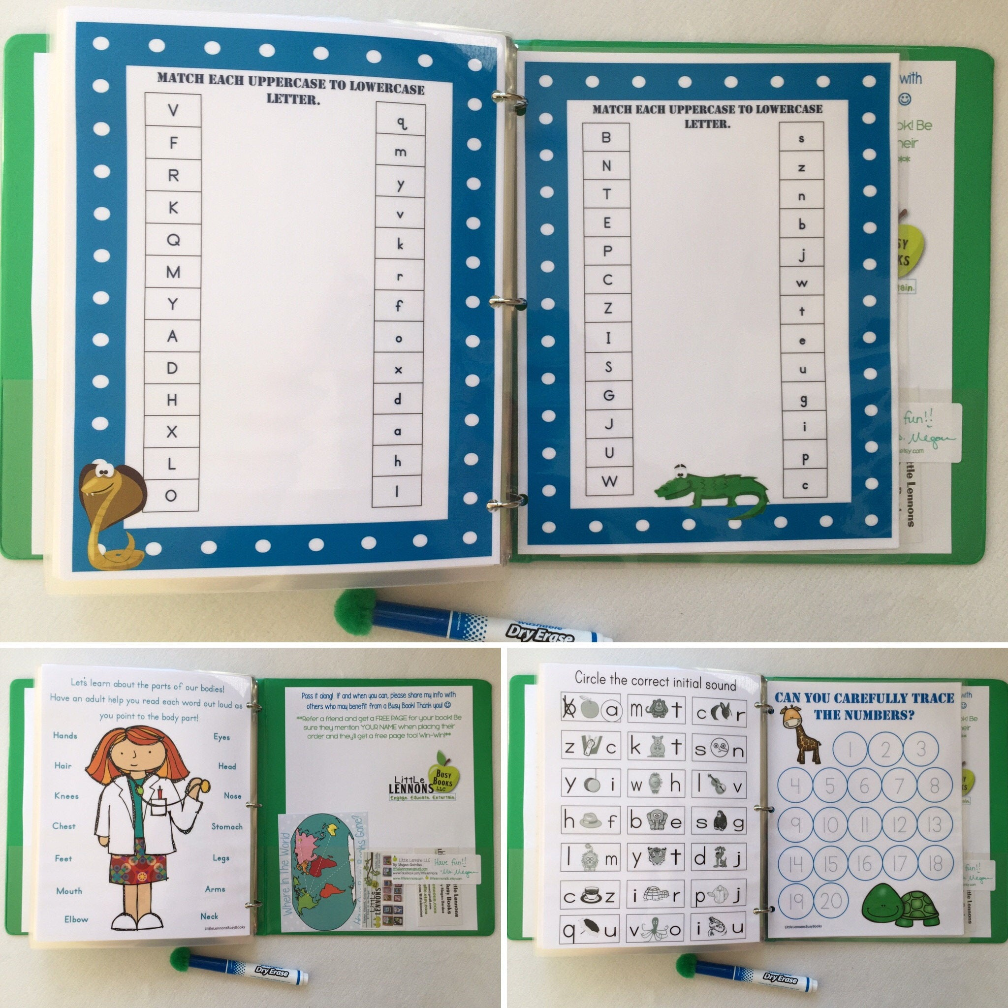 PreK Group/Classroom/Family Busy Book, Quiet Book, Dry Erase ...