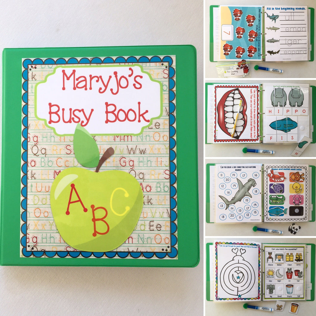 PreK Group/Classroom/Family Busy Book, Quiet Book, Dry Erase activity book, alphabet, preschool, educational, binder, age 3-5, homeschool
