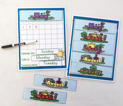 Laminated Dry Erase Calendar Page, months, days of the week, hook and loop, busy book, daily work, binder, learning, homeschool, preschool