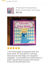 Unicorn Mermaid Custom Dry Erase  Activity Book, Personalized Busy Book, Quiet Book, Educational