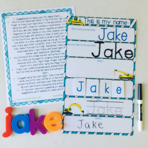 My Name Mat, learn to write name, spell name, trace name, preschool, toddler, prek, educational toy, dry erase,name puzzle laminated, trucks