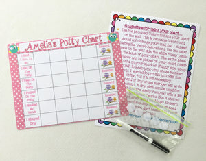 Dry Erase Owl Potty Chart, personalized, write on, laminated, kids chart, Reward Chart, toilet training chart, potty training, time