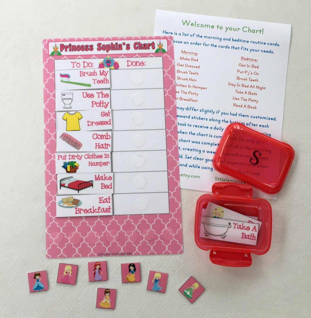 Morning/Bedtime Task Chart, visual chart, laminated, routine chart, premade chart,  reusable chart, princess bedtime chart, reward system