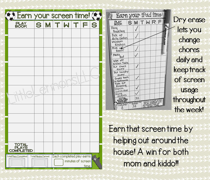 Soccer Earn Your iPad/Tablet/Fire/Xbox/Screen Time Chart, chore chart, goal chart, dry erase, laminated, sports, boy, device, responsibility