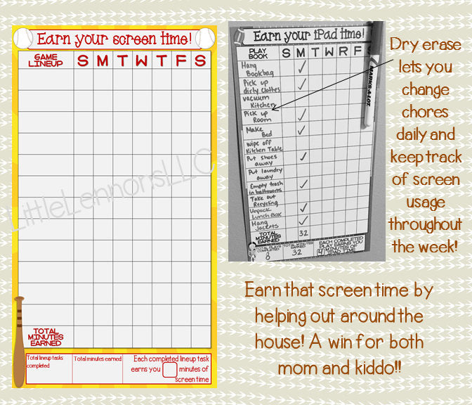 Baseball Earn Your iPad/ Tablet/ Fire/ Xbox/ Screen Time Chart, chore, goal, chart, dry erase, laminated, sports, boy, device responsibility