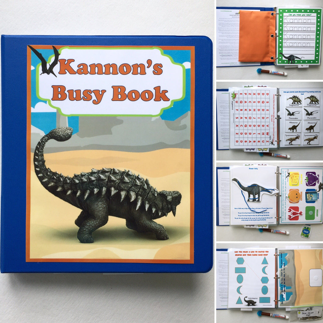 Dinosaur Personalized Busy Book, Quiet Book, Dry Erase/ activities, Preschool, Educational Toy, reusable, learning binder, travel, hands on