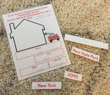 Fully Assembled Address page, learn address, , laminated, preschool, kindergarten, emergency, personal information, busy book page