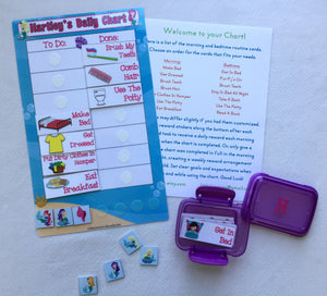 Morning/Bedtime Task Chart, visual chart, laminated, routine, premade chart, mermaid chart, mermaid bedtime chart, reward, reusable, girls