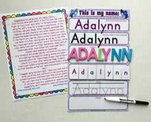 My Name Mat, learn to write name, spell name, trace name, preschool, name puzzle, educational toy, dry erase, custom, ballet, ballerina