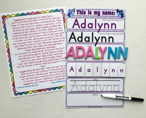 My Name Mat, learn to write name, spell name, trace name, preschool, toddler, prek, educational toy, dry erase, custom, laminated, butterfly