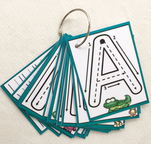 Little Letters, Dry erase, alphabet, clip cards, flash cards, laminated, trace, uppercase, busy bags, formations, key ring, learn to write