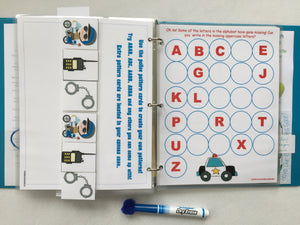 Police Rescue Dry Erase Busy Book/ Quiet Book/Activity Book/Binder/Educational toy, custom, ages 1-7, preschool learning, unique gift, kids