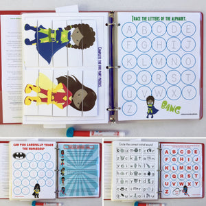 Female African American Superhero Dry Erase Busy Book/Quiet Book/Activity Book/Educational toy/custom gift/gift for girls/empowerment/binder