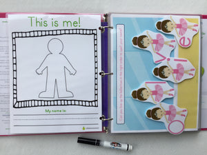 All Girl Themed Custom Dry Erase Activity Book, Personalized, Busy Book, Quiet Book, binder, gift age 3, travel activities, gift for girls