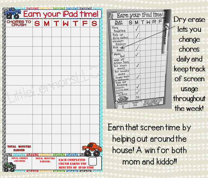 Monster Truck Earn Your iPad, Tablet, Fire, Xbox, Screen Time, Chart, chore, electronics, summer, dry erase, laminated, boy, responsibility