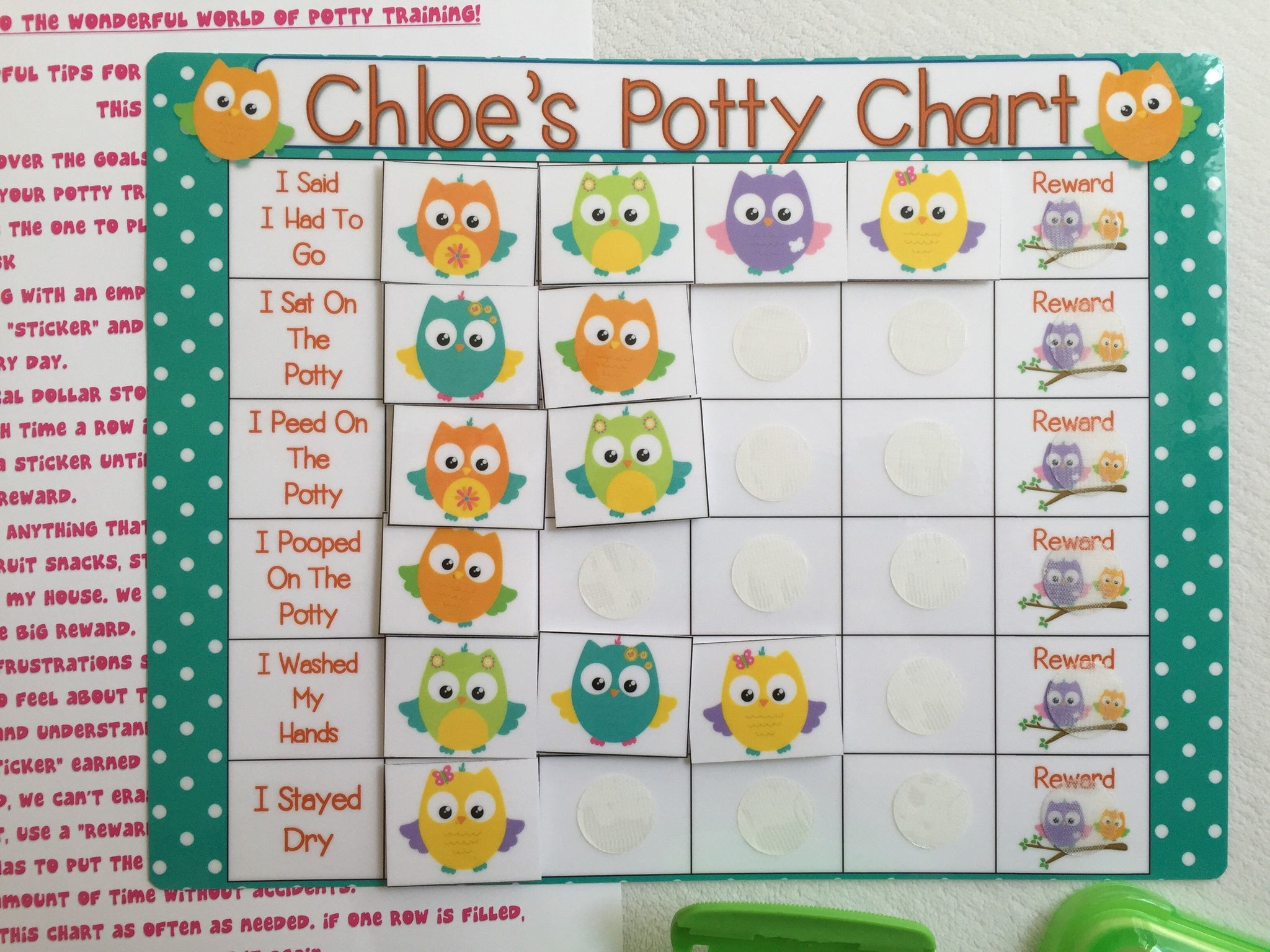 Owl Potty Chart, Potty training chart, rewards chart ...