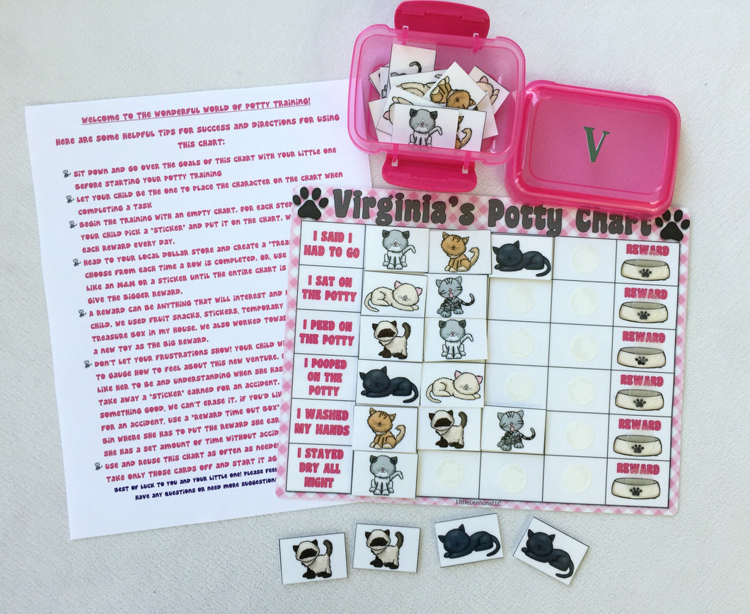 Cats & Kittens Potty Chart, Potty training, reward chart, personalized, assembled, toilet training, custom, sticker chart, star chart
