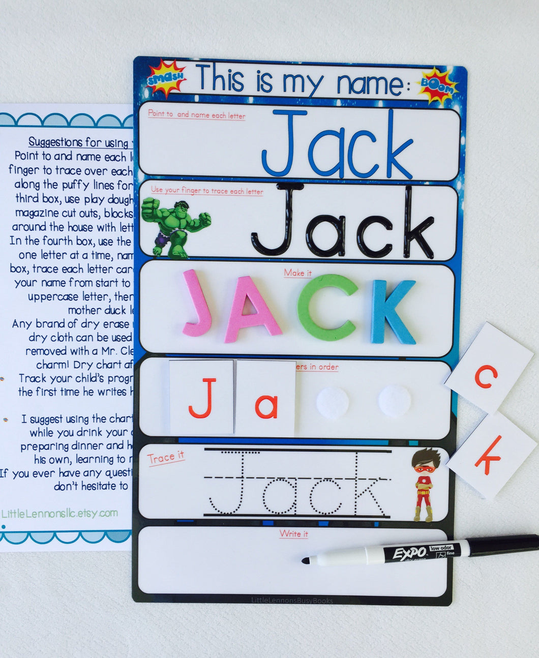 My Name Mat, learn to write name, spell name, trace name