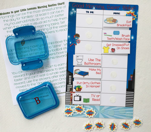 Morning Routine Chart, personalized, ASSEMBLED, Reward Chart